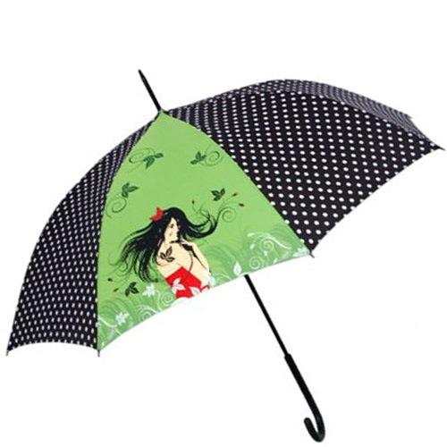 Зонт-трость Doppler Art Collection автоматический в горох с принтом на зеленом фоне, фото