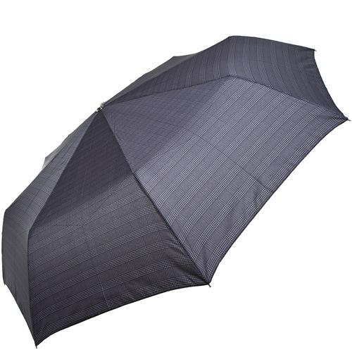 Зонт-полуавтомат Doppler в 3 сложения с 8 спицами серый в клетку, фото