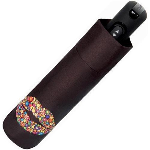 Зонт-автомат Doppler Carbon Steel антиветер в 3 сложения темно-бордовый с принтом Kiss, фото