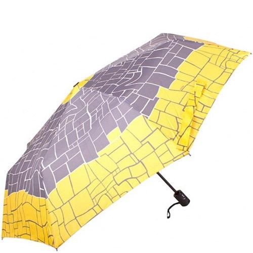 Зонт-полуавтомат Doppler Carbon Steel антиветер в 3 сложения серый с желтыми краями, фото