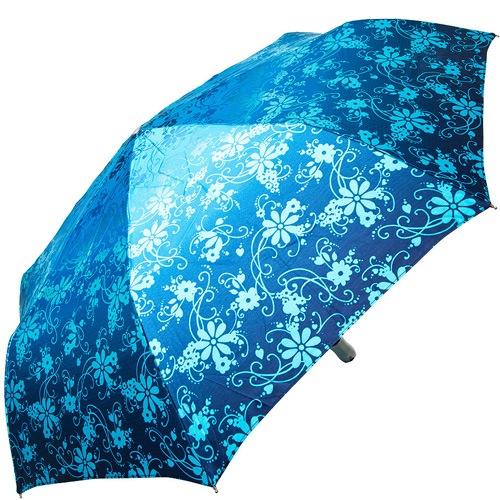 Зонт-полуавтомат Doppler SATIN антиветер в 3 сложения синий с серебристо-голубым цветочным принтом, фото