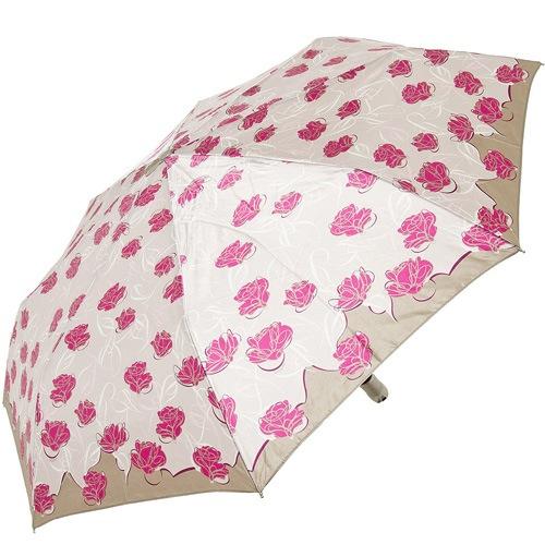 Зонт-полуавтомат Doppler SATIN антиветер в 3 сложения в кремово-розовых тонах с розами, фото