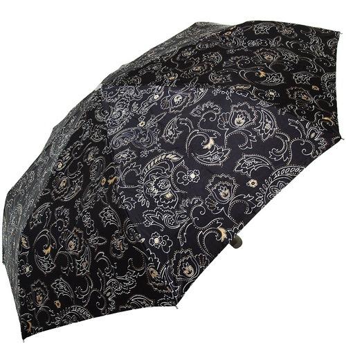 Зонт-полуавтомат Doppler SATIN антиветер в 3 сложения черный с роскошным цветочным принтом и пейсли, фото
