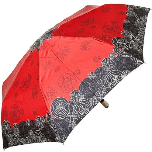 Зонт-полуавтомат Doppler SATIN антиветер в 3 сложения красный с оригинальным принтом из стилизованных кругов, фото