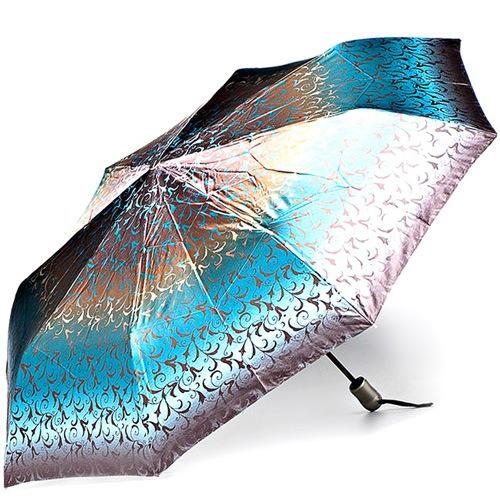 Зонт-полуавтомат Doppler SATIN антиветер в 3 сложения в коричневых и бирюзовых тонах с роскошным ажурным принтом, фото