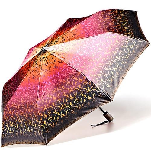 Зонт-полуавтомат Doppler SATIN антиветер в 3 сложения в коричневых и оранжево-розовых тонах с ажурным принтом, фото
