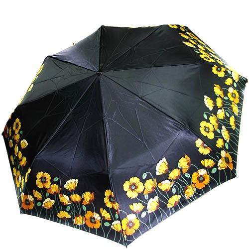 Зонт-автомат Doppler женский модель 74665GFGP черного цвета с желтыми маками, фото