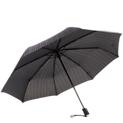 Зонт-полуавтомат Doppler Carbon антиветер в 3 сложения с черным увеличенным куполом в светлую тонкую полоску, фото