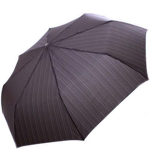 Зонт-полуавтомат Doppler Carbon антиветер в 3 сложения с черным увеличенным куполом в бежевую полоску, фото