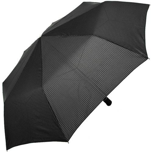 Зонт-полуавтомат Doppler Carbon антиветер в 3 сложения с принтом лапка на черном увеличенном куполе, фото