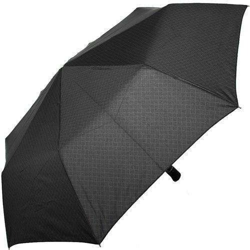 Зонт-полуавтомат Doppler Carbon антиветер в 3 сложения с сетчатой серой клеткой на черном увеличенном куполе, фото
