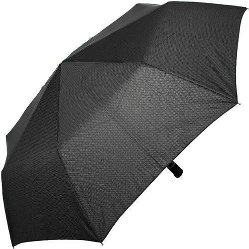 Зонт-полуавтомат Doppler Carbon антиветер в 3 сложения с волнистым принтом на черном увеличенном куполе, фото