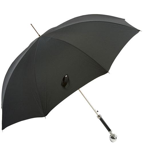 Черный зонт-трость Pasotti с ручкой в виде лапы с шаром, фото