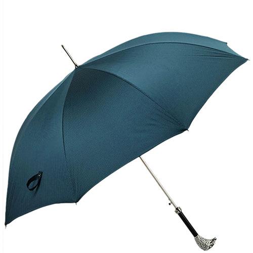Зонт-трость бирюзового цвета Pasotti с ручкой-орлом, фото