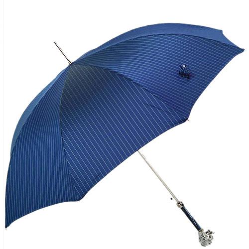 Полосатый зонт-трость Pasotti с ручкой в виде головы льва, фото