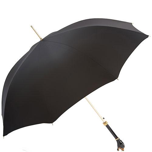 Черный зонт-трость Pasotti с ручкой в виде ротвейлера, фото