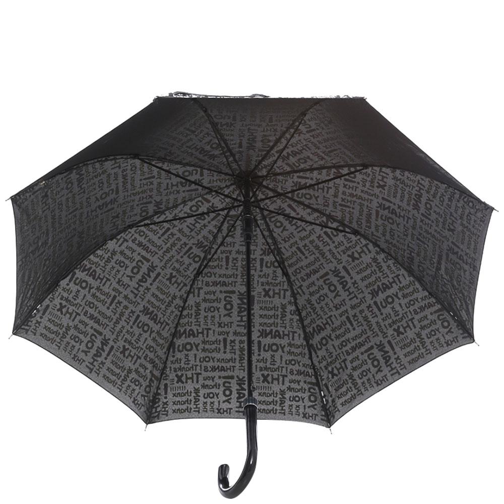 Зонт-трость Baldinini черного цвета с белым принтом