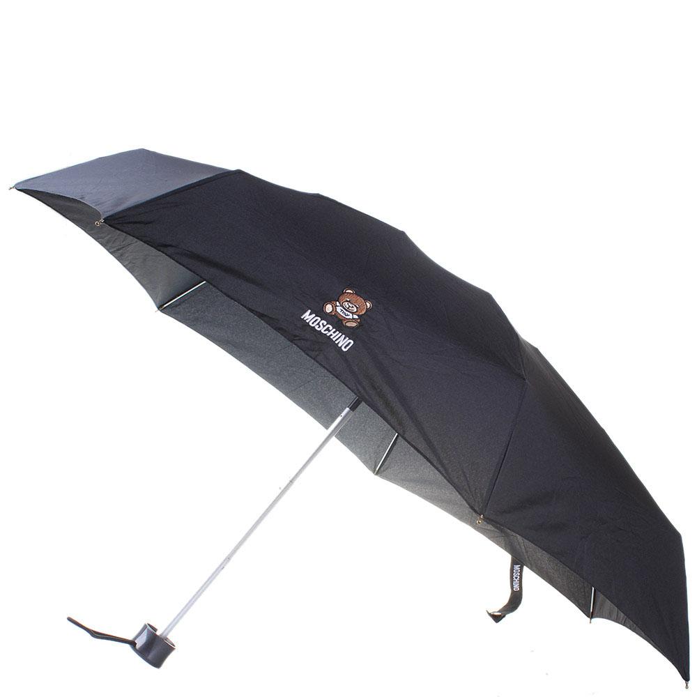 Зонт черного цвета Moschino в подарочной упаковке в виде мишки