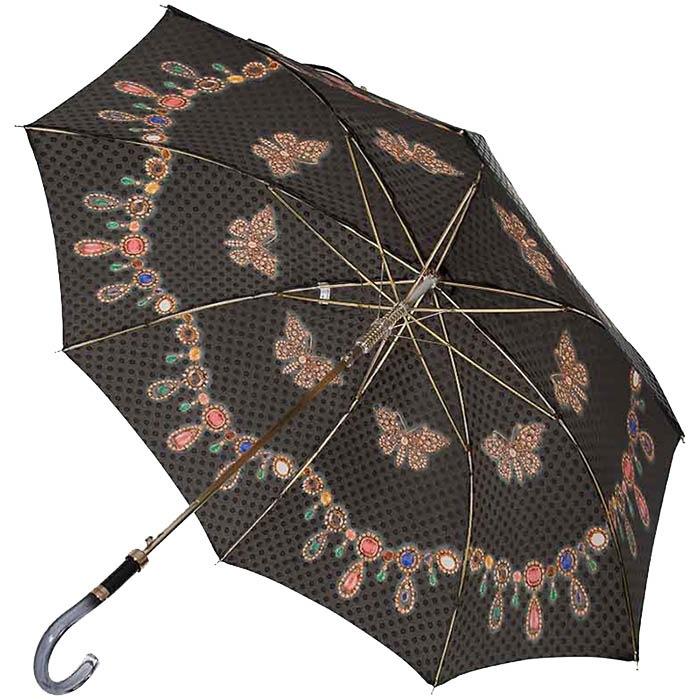 Женский зонтик-трость Baldinini с принтом в форме драгоценностей и в фирменной упаковке