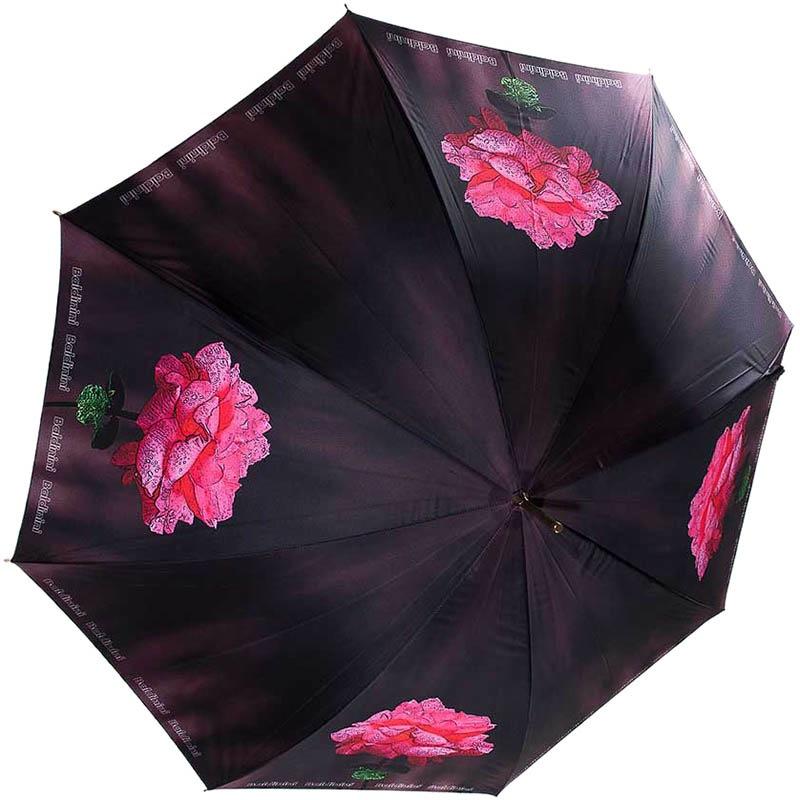 Зонт-трость Baldinini черного цвета с розовыми рисунками цветов с полуавтоматическим механизмом