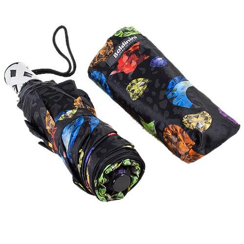 Большой женский зонт черного цвета Baldinini с разноцветным принтом
