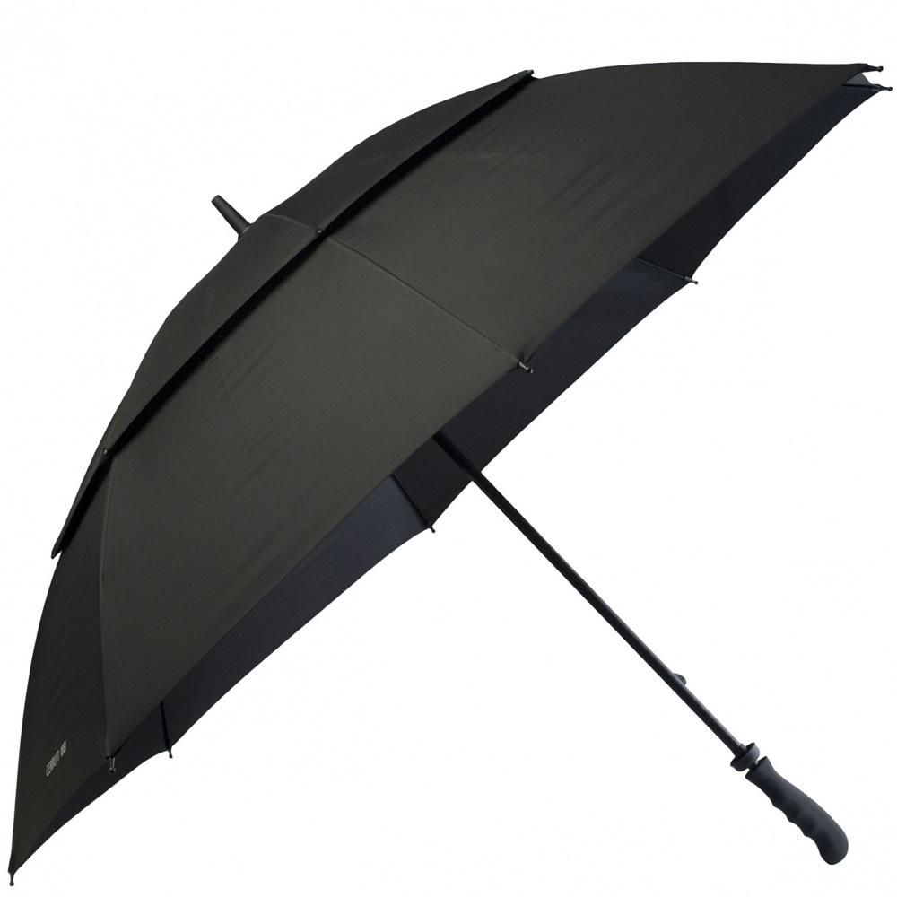 Зонт-трость Cerruti 1881 черный с большим куполом и оригинальной ручкой