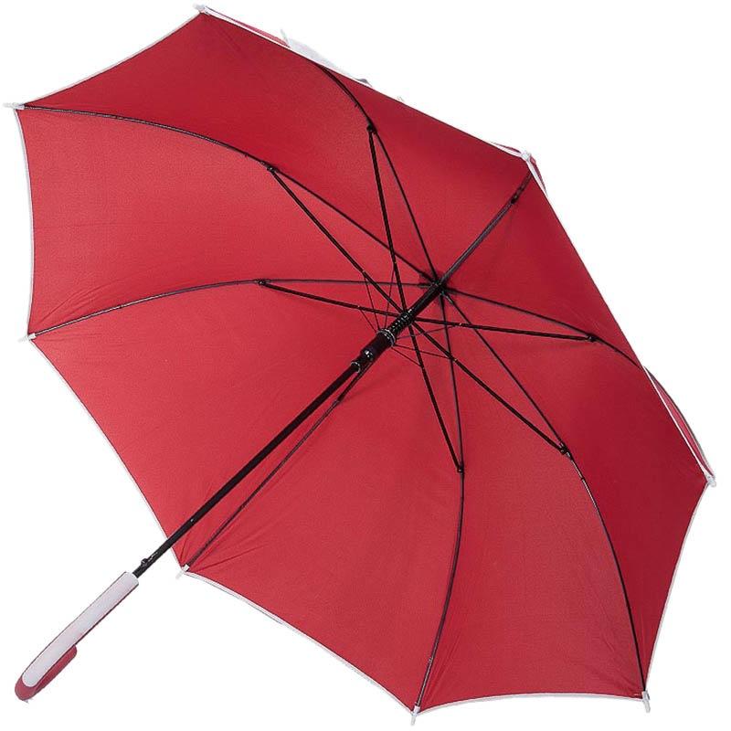 Красный однотонный зонт-трость Ferre с серыми полосками с укрепленным каркасом и куполом