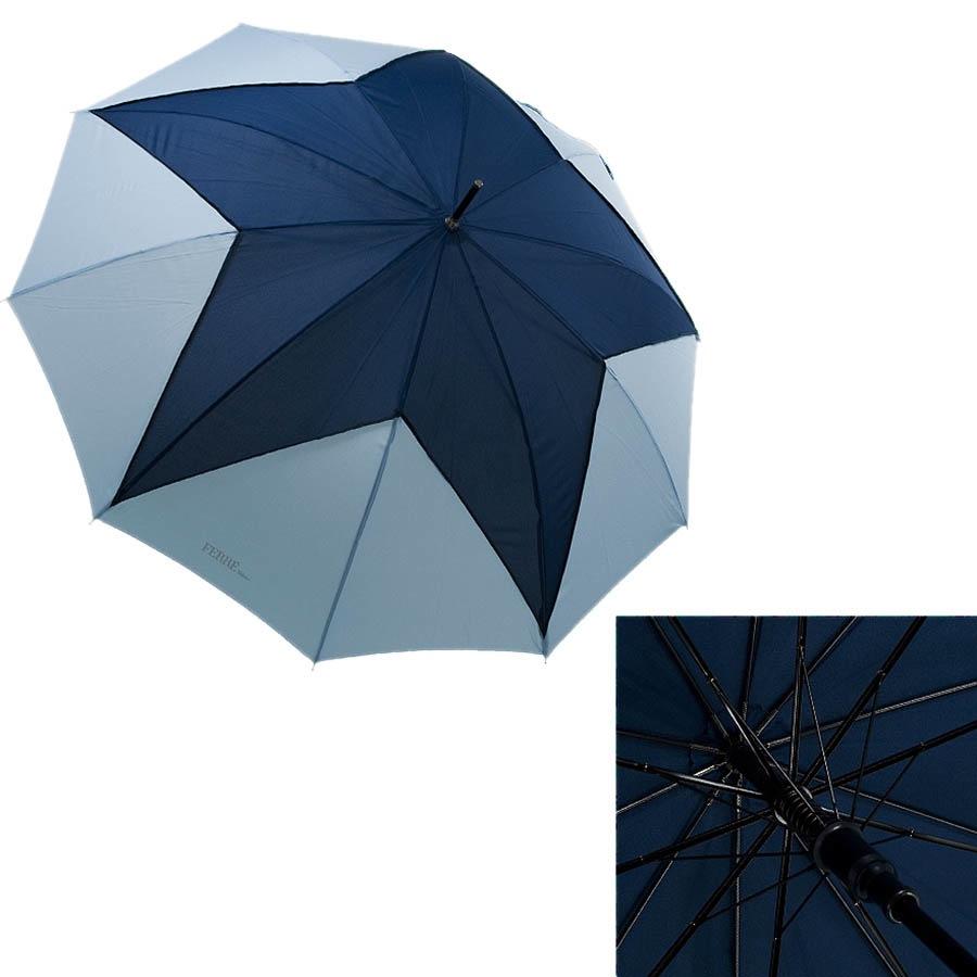 Большой полуавтоматический зонт Ferre трость с геометрическим сине-голубым узором