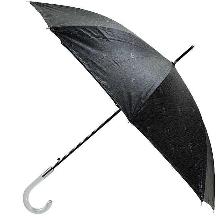 Большой зонт-трость Ferre черного цвета с неярким принтом