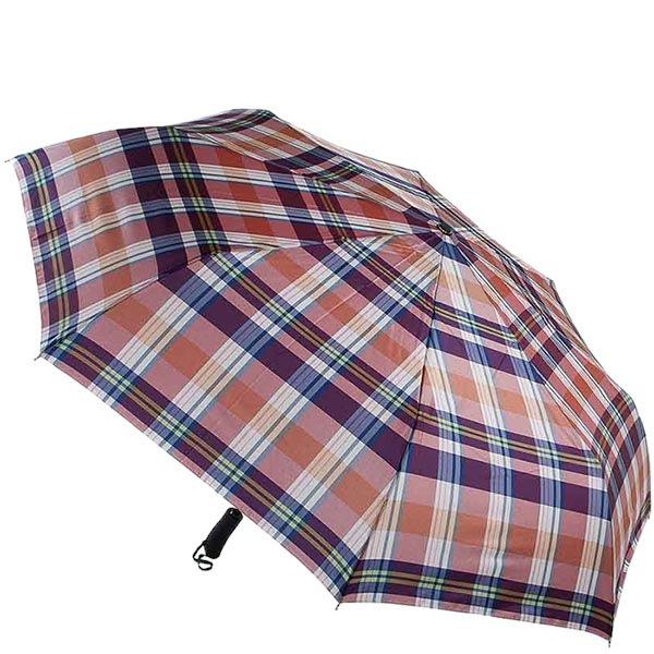 Большой автоматический зонт Ferre в фиолетовую крупную клетку
