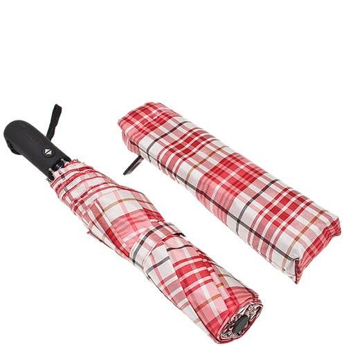 Большой клетчатый зонт Ferre красного цвета с автоматическим механизмом