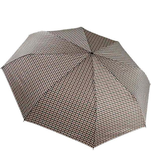 Складной зонт большого диаметра Ferre в мелкую черно-бежевую клетку