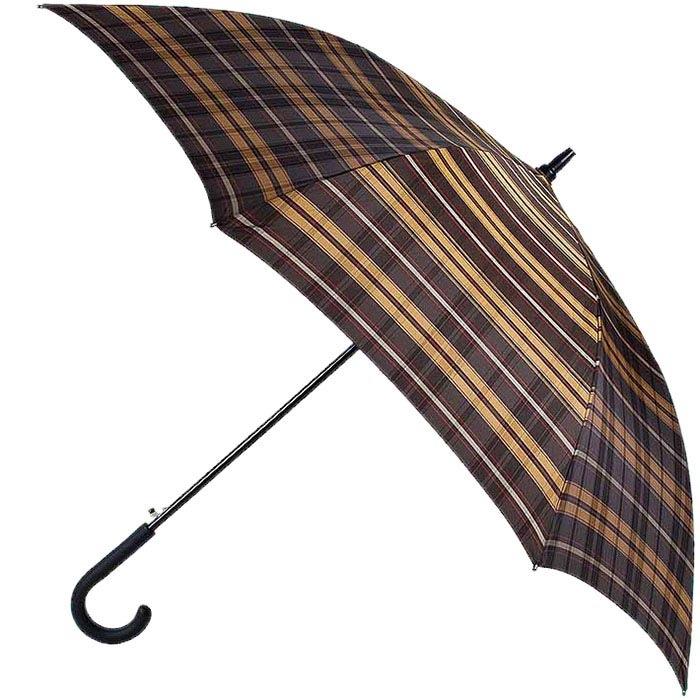 Клетчатый зонт-трость Ferre большого размера в коричневых тонах