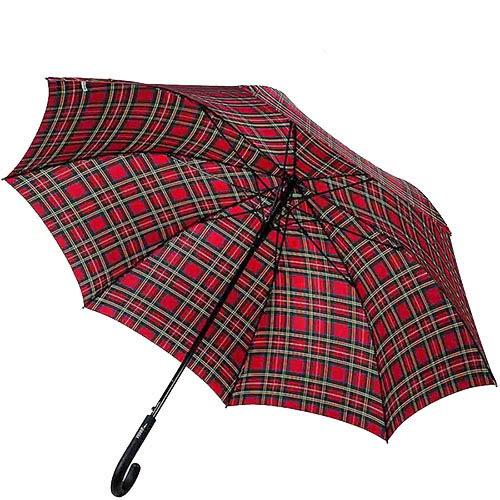 Большой полуавтоматический зонт-трость Ferre в красную шотландскую клетку