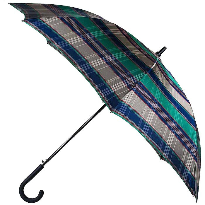 Большой мужской зонт-трость Ferre в сине-зеленую клетку с уплотненным куполом и каркасом