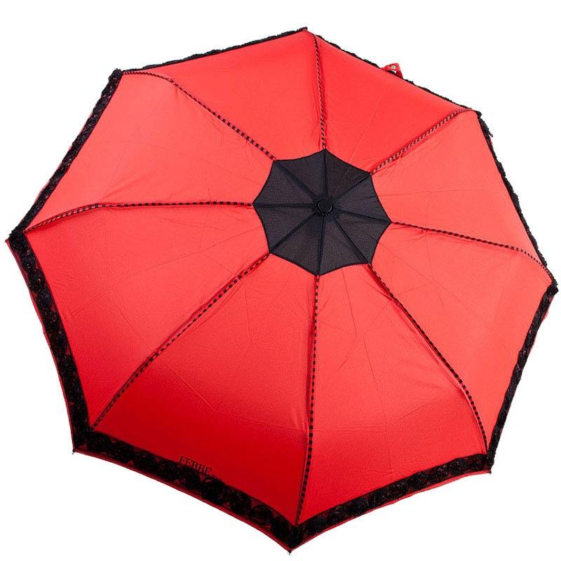 Красный зонт-автомат Ferre с черными рюшами-цветами