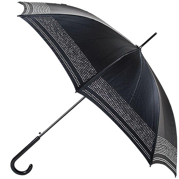 Черный зонт-трость Ferre со стразами и полуавтоматическим механизмом