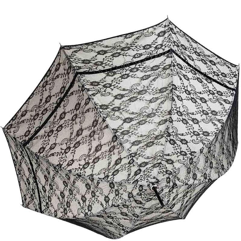 Женственный зонт-трость Ferre с кружевом и полуавтоматическим механизмом