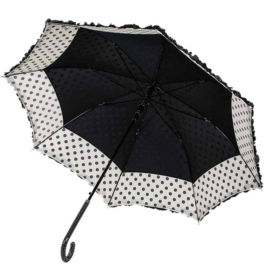 Большой женский зонт-трость Ferre в черно-белый горох с рюшами
