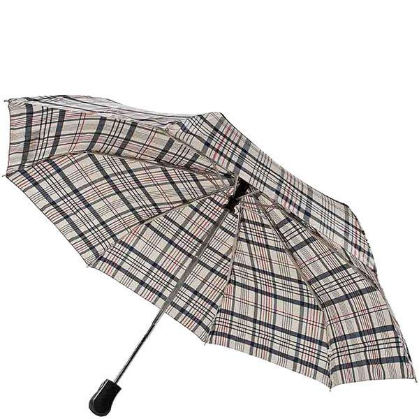 Большой классический зонт Ferre в серую клетку с автоматическим механизмом