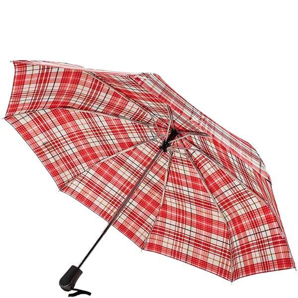 Большой красный зонт Ferre в клетку с автоматическим механизмом