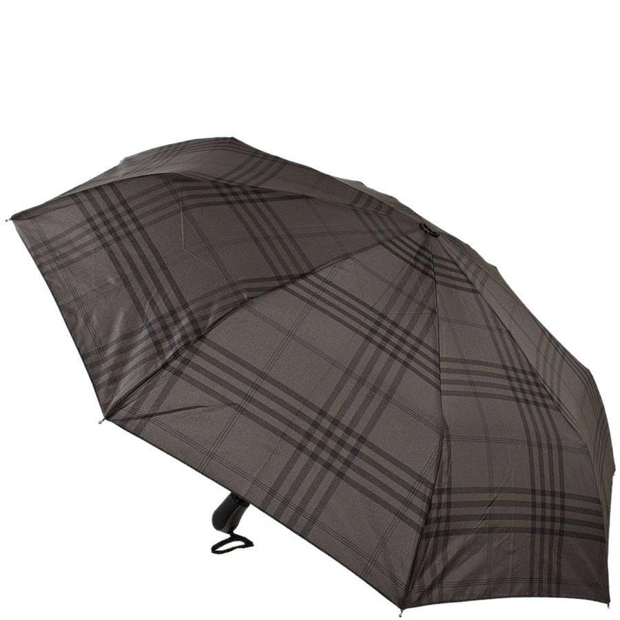 Клетчатый зонт Ferre темного серого цвета с автоматическим механизмом