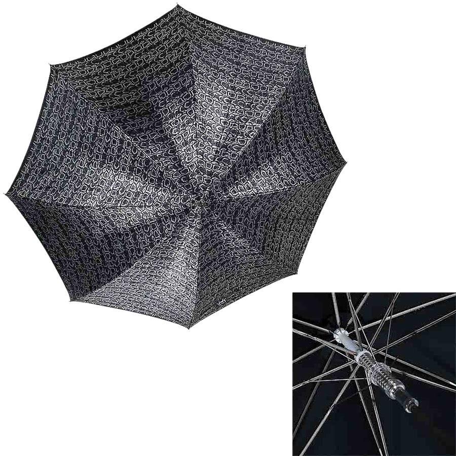 Полуавтоматический зонт-трость Ferre с серебристым переливающимся куполом