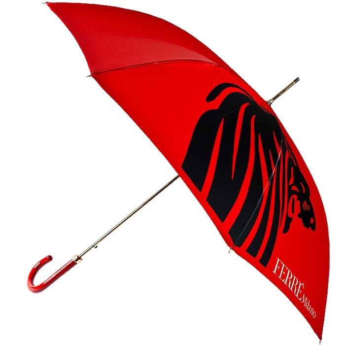 Красный зонт-трость Ferre с принтом в форме силуэта львиной головы