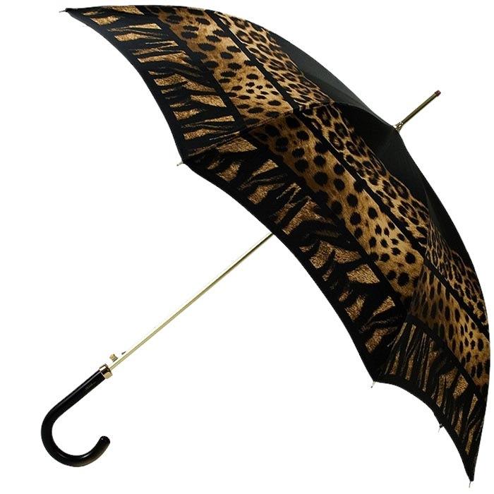 Черный зонт-трость Ferre с анималистичным принтом и полуавтоматическим механизмом