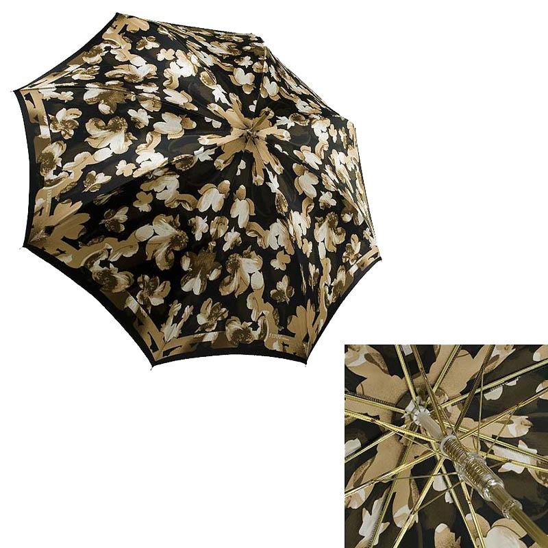 Коричневый флористичный зонт Ferre в форме трости с полуавтоматическим режимом