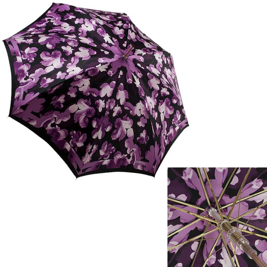Женский зонт-трость Ferre с цветочным фиолетовым принтом и полуавтоматическим механизмом