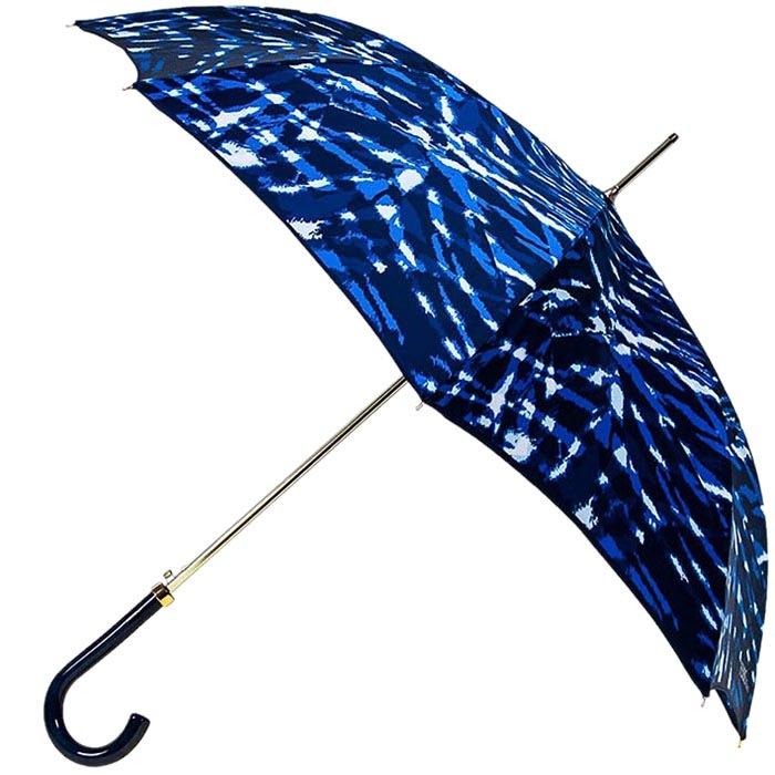 Насыщенный синий зонт-трость Ferre с переливающимся уплотненным куполом и прочным механизмом