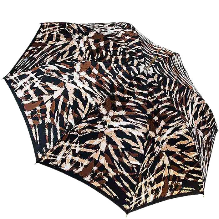 Женский зонт-трость Ferre с принтом в коричневых тонах и тефлоновой пропиткой купола