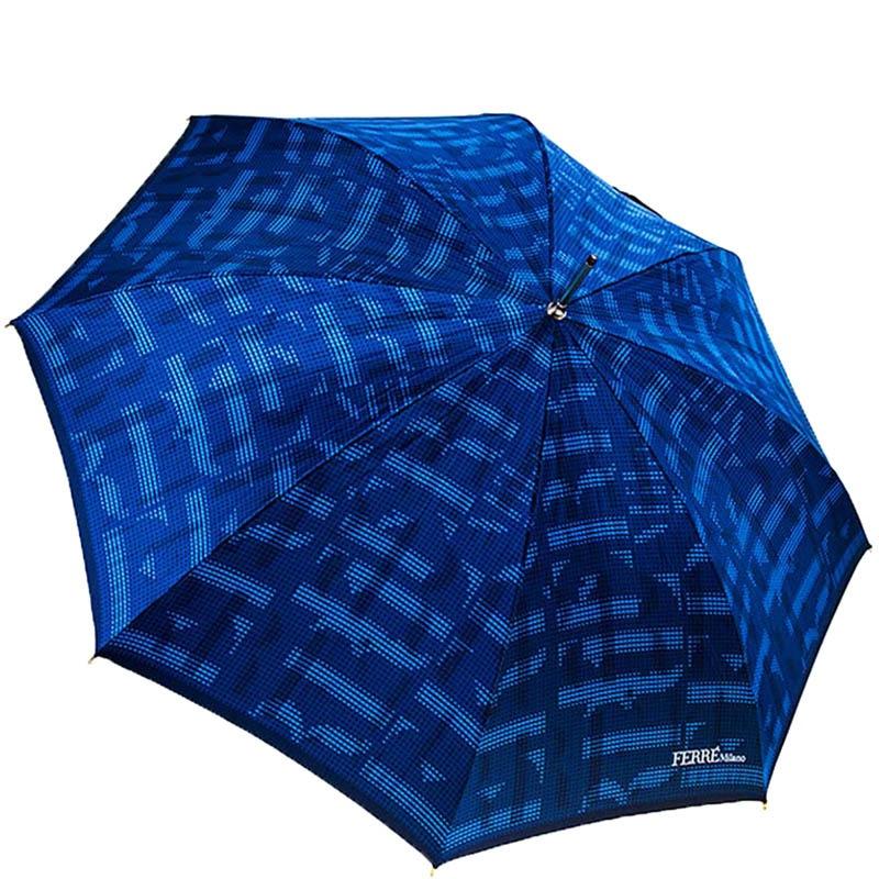 Синий большой зонт-полуавтомат Ferre в форме трости с переливающимся уплотненным куполом